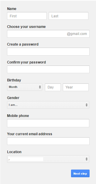 How to create a Gmail account form