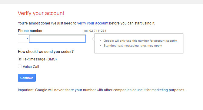How to create a Gmail account veryfy