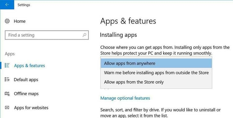 Windows-10 Apps and features