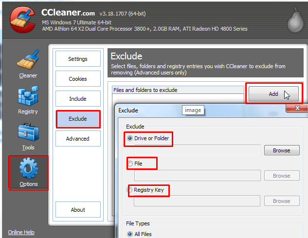 Exclude custom file