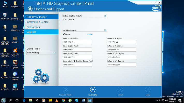HD Graphics Control Panel option and support