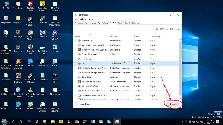 right-clicking on the program and select disable