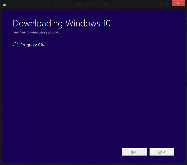 windows 10 ISO file will start to download
