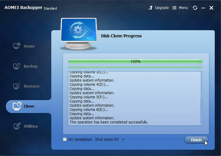 HDD cloning to SSD is just finished