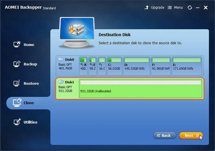 select the target driveis SSD and click Next