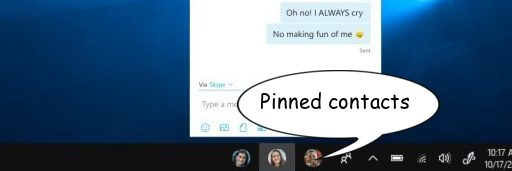 Pinned Contacts on windows 10