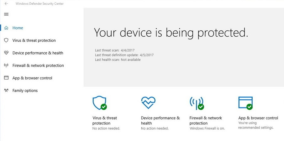 Windows Defender Security