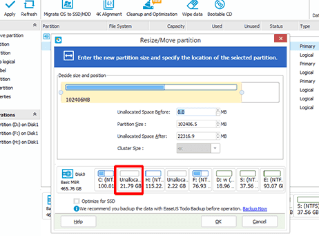 Change Partition Size