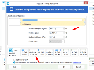 Resizing partition