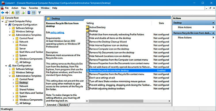 Hide Recycle Bin Using Group Policy