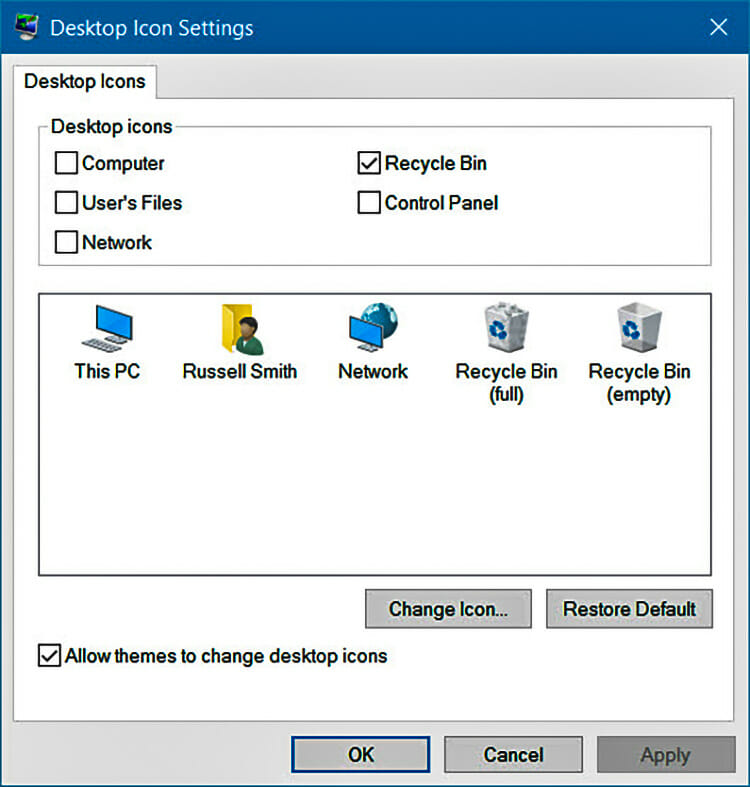 Hide Recycle Bin Using the Control Panel