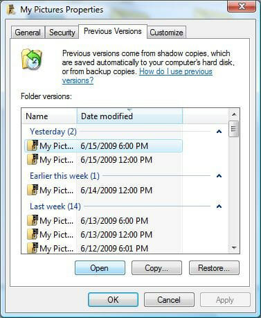 Recover Deleted Files From Empty Recycle Bin via Previous Versions 2