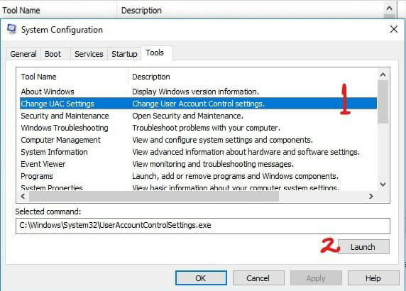 How to Disable/Deactivate UAC with MSConfig in Windows 10