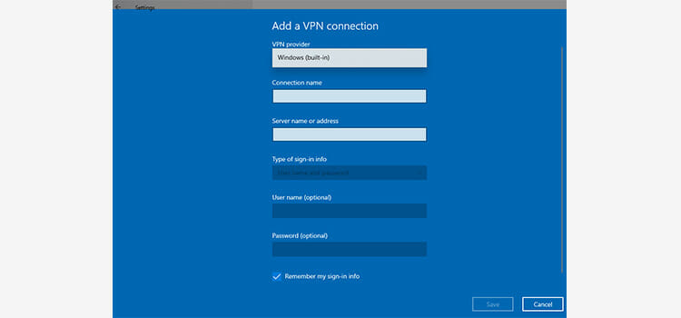 Connection with VPN in Windows 10 3
