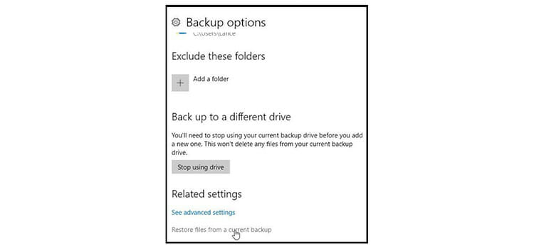 size of the backup