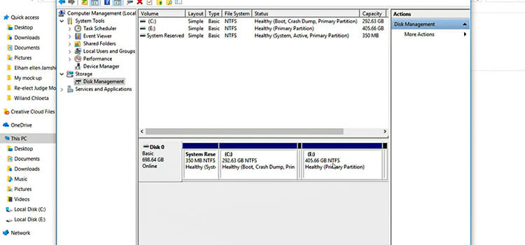 select the partition volume