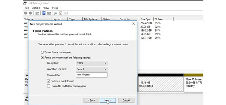 Converting the Unallocated Space to Free Space 3
