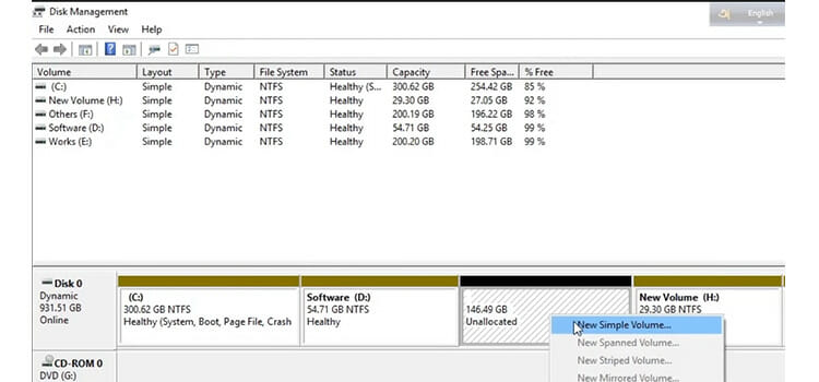 Converting the Unallocated Space to Free Space
