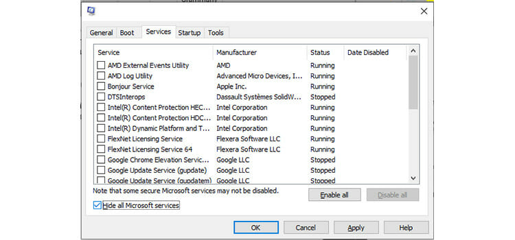 Disabling Unwanted Services 2