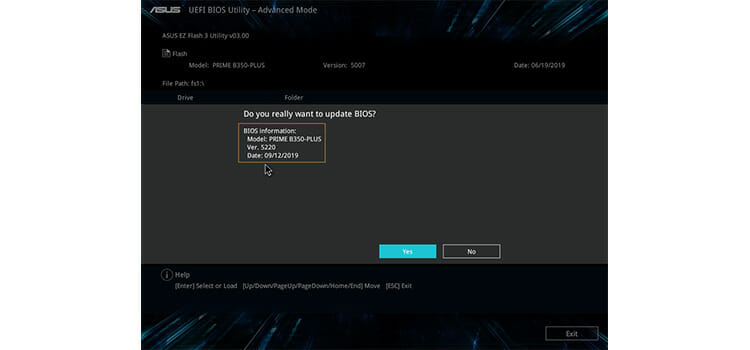 Flash BIOS with USB for an ASUS motherboard 7