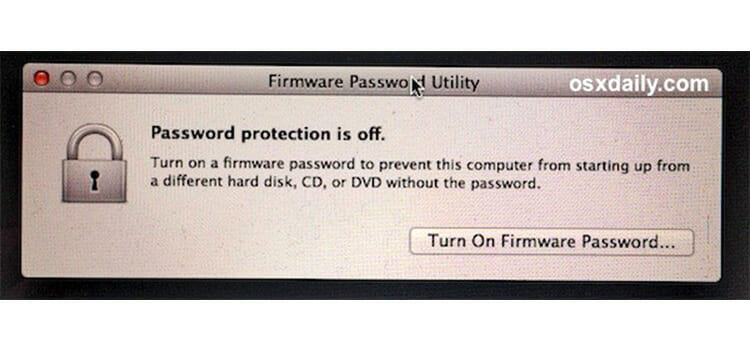 Turn the Firmware Password ON
