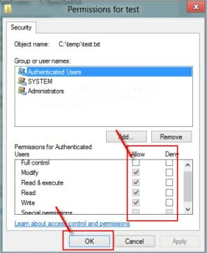 permissions for test properties