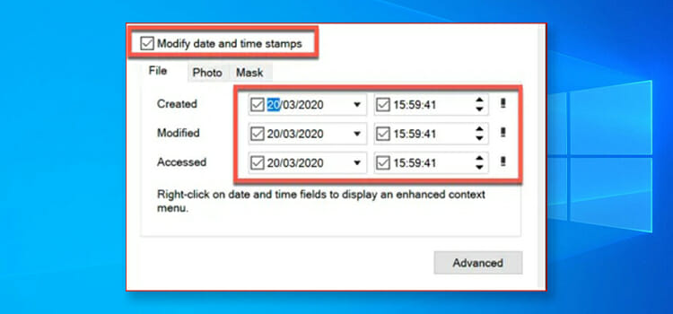How to change the date created on a file windows 10