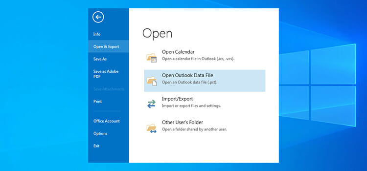 How to open Data Files in Outlook