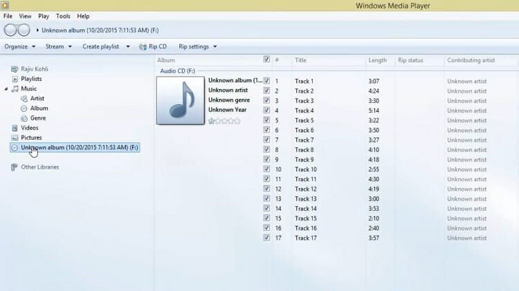 On the library screen of Windows Media Player, you should find the inserted CD with an icon