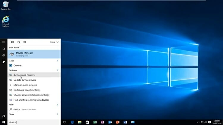 Go to the Windows search bar, or Cortana and search for 'Devices and Printers'