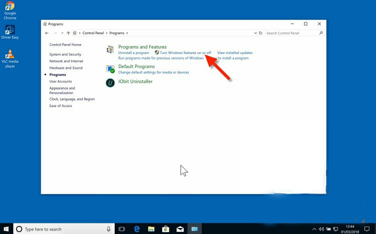 Tap the 'Turn Windows features on or off-menu.