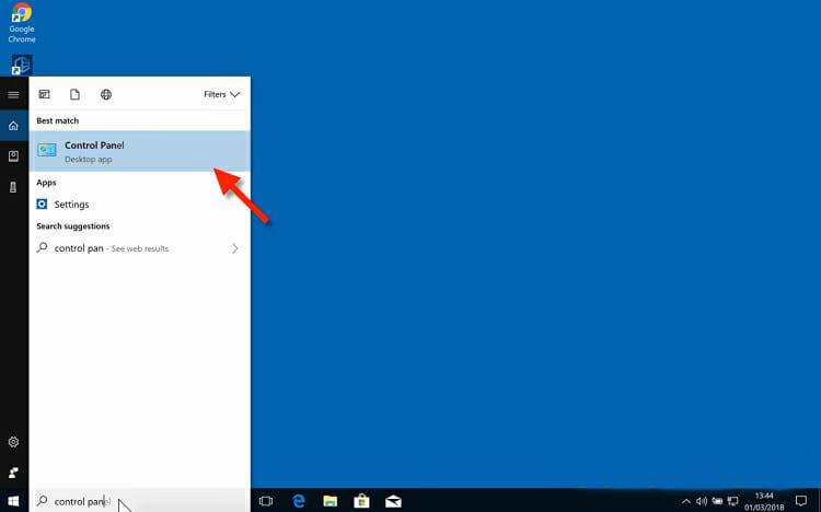 Go to the Windows search bar and search for 'Control Panel'